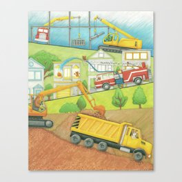 Trucks at Work Canvas Print