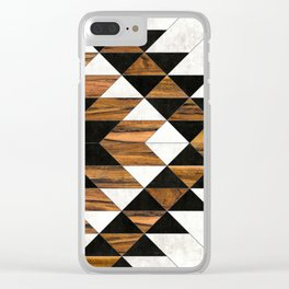 Urban Tribal Pattern 9 - Aztec - Concrete and Wood Clear iPhone Case