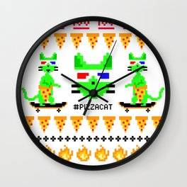 """Psychedelic Skateboarding Ugly Christmast Sweater Pixel Pizza Cat"", by Brock Springstead Wall Clock"