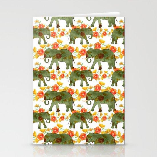 Wading Elephants Stationery Cards