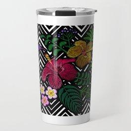 Hummingbird around flower plumeria hibiscus Frangipani exotic  Embroidery Travel Mug