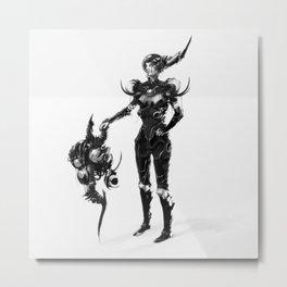 Techno Armor Woman Metal Print
