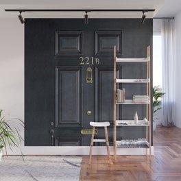 Haunted black door with 221b number Wall Mural