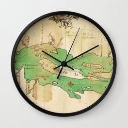 Vintage Map of Lake Champlain (1740) Wall Clock