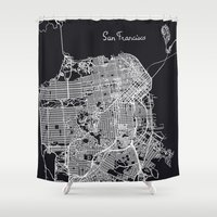 san francisco map Shower Curtains featuring San Francisco Map by chiams