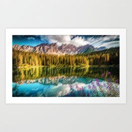 Carezza Lake Mountain Reflection and Wildflowers Landscape Painting by Jeanpaul Ferro Art Print