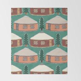 Cozy Yurts -n- Pines Throw Blanket
