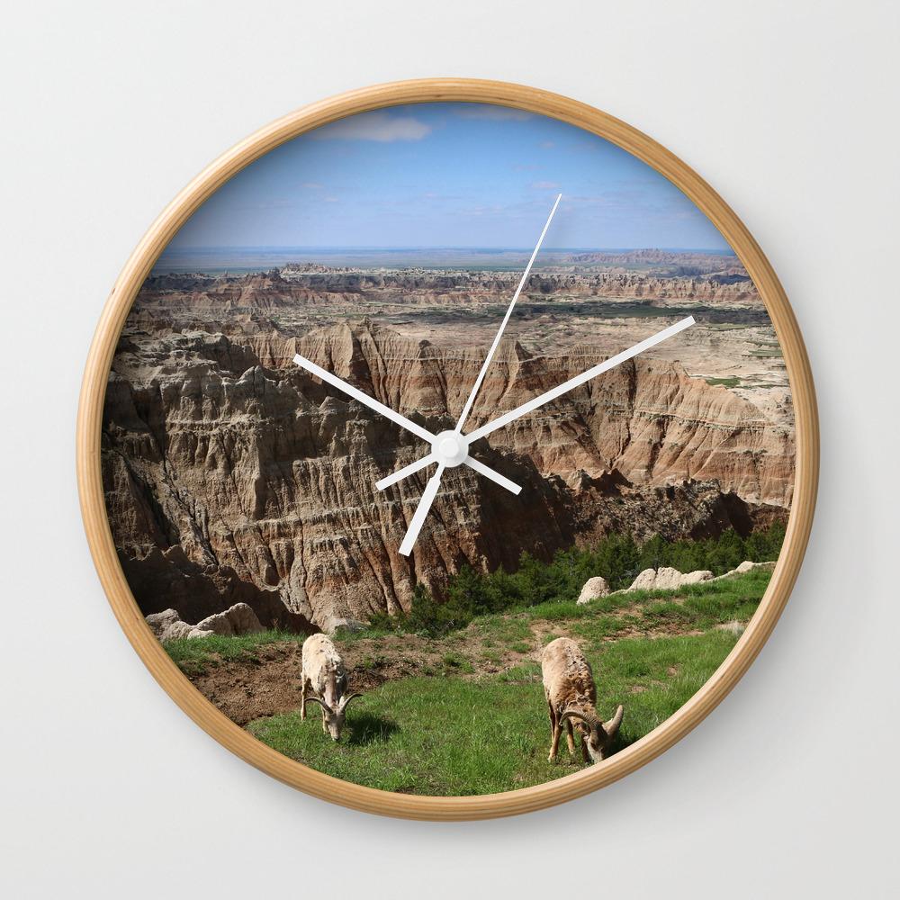 Bighorn Sheep At Sage Creek Wall Clock by Christianeschulze CLK8089884