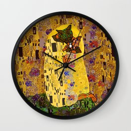 Kiss Klimt Cats Wall Clock