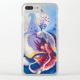 White Orchid Acrylic Painting Clear iPhone Case