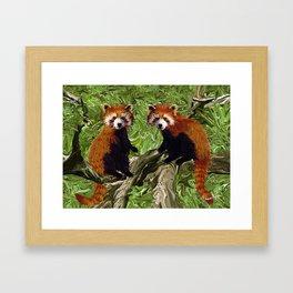 Frolicking Red Pandas Framed Art Print