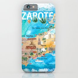 Lanzarote Canarias Spain Illustrated Map with Landmarks and Highlights iPhone Case