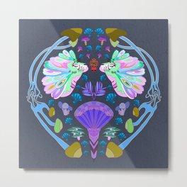 Fantasy Tiger Illustration // Mushrooms, Fantasy Mushroom's, Multicolored Mane || Sea Breeze Color Metal Print