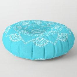 Mandala 01 - White on Turquoise Floor Pillow