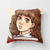 hermione Throw Pillows featuring Young Hermione by Kata (koomalaama)