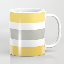 Yellow and Gray Wide Stripes Pattern Coffee Mug