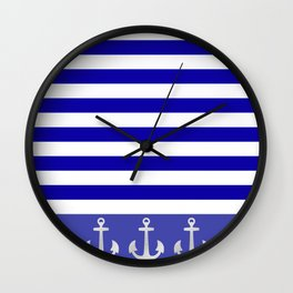 Blue And White Stripes Anchor Wall Clock