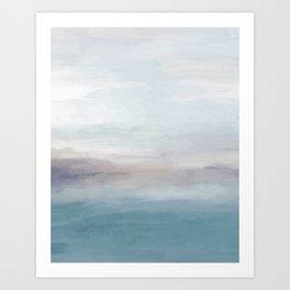Light Gray, Mauve, Turquoise Aqua Blue Print Modern Wall Art, Abstract Painting Kunstdrucke