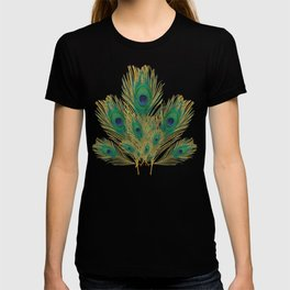 """Turquoise and golden peacock"" T-shirt"