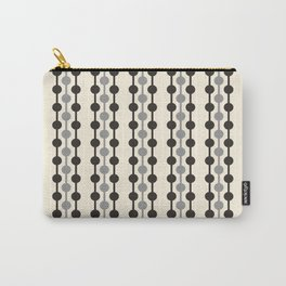 Geometric Droplets Pattern Series in Black Gray Cream Carry-All Pouch
