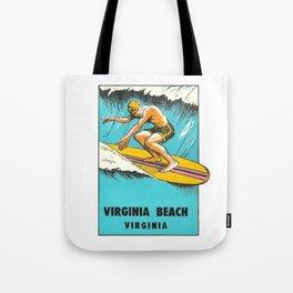 Virginia Beach Retro Vintage Surfer Tote Bag