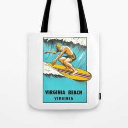 Virginia Beach Retro Vintage Surfer Tote Bag