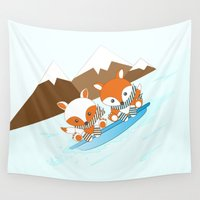 skiing Wall Tapestries featuring Skiing by HK Chik