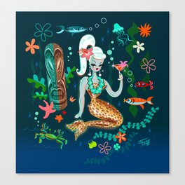 Blonde Leopard Martini Mermaid Canvas Print