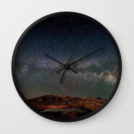 Starry Night Over Mesa Arch Wall Clock