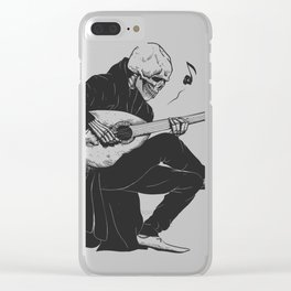 Minstrel playing guitar,grim reaper musician cartoon,gothic skull,medieval skeleton,death poet illus Clear iPhone Case