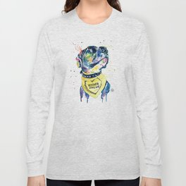 Pitbull, Pit Bull Watercolor Pet Portrait Pinting - Diesel Long Sleeve T-shirt