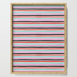Abstract, Stripes, Red, Pink, Blue, Black, Pop art, Minimal, Pattern, Modern art Serving Tray