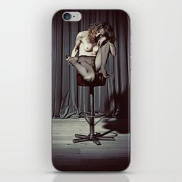 Nude Woman sitting on a barstool iPhone Skin