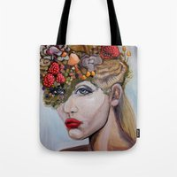 alice wonderland Tote Bags featuring Wonderland by HeatherIRELANDArtz