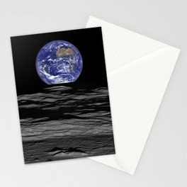 Earthrise over Compton crater Stationery Cards