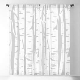Woodcut Birches Grey Blackout Curtain