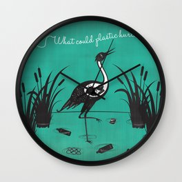 What Could Plastic Hurt? Crane by Sarah Pinc Wall Clock