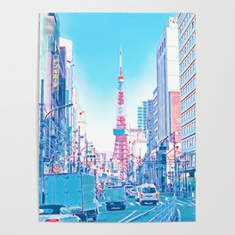 Tokyo Tower Seen from Gaien-Higashi-Dori - Bright Colors Poster