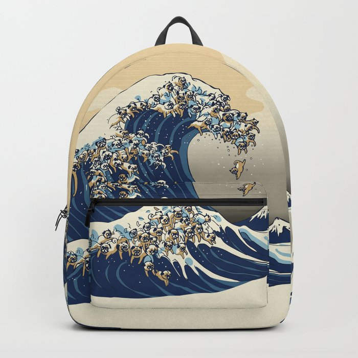 The Great Wave of Pugs Vanilla Sky Rucksack