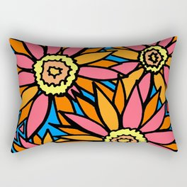 Doodle Art Daisies Pink Orange Rectangular Pillow
