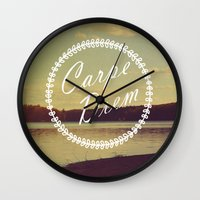 carpe diem Wall Clocks featuring Carpe Diem  by Rachel Burbee