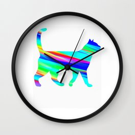 Blue stripes catsss Wall Clock