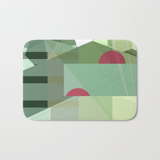 Geometric abstract green No. 1 Bath Mat