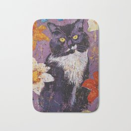 Cat with Tiger Lilies Bath Mat
