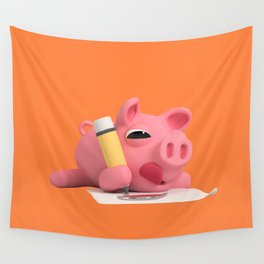 Rosa the Pig drawing Wall Tapestry