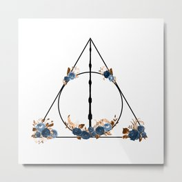 Deathly Hallows in Blue and Brown Metal Print