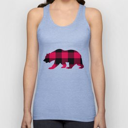 Buffalo Plaid Bear Unisex Tank Top
