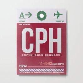 CPH Copenhagen Luggage Tag 2 Metal Print