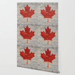 Canada flag on a brick wall Wallpaper