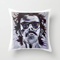 chuck Throw Pillows featuring Chuck Close by Susie (Zsuzsi) Czompo